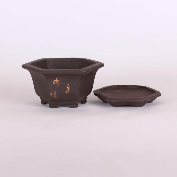 Bonsajová miska šesťhranná s podmiskou, 14.5x6.5cm, tmavohnedá, neglazúrovaná