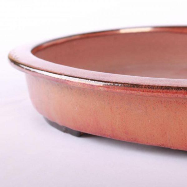 Bonsajová miska oválna, 40.5x31.5x6.5cm, medená, glazúrovaná