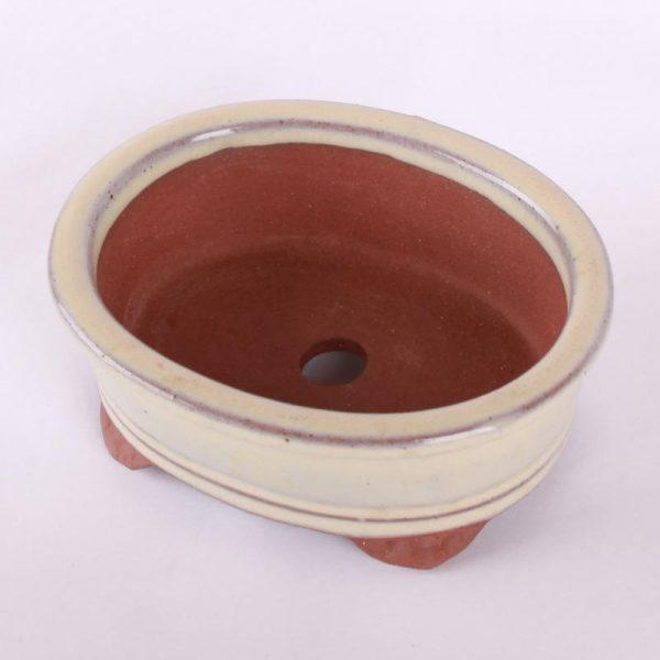 Bonsajová miska oválna, 13.5x10.8x5.1cm, krémová, glazúrovaná