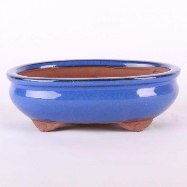 Bonsajová miska oválna, 16.5x13x5.5cm, modrá, glazúrovaná