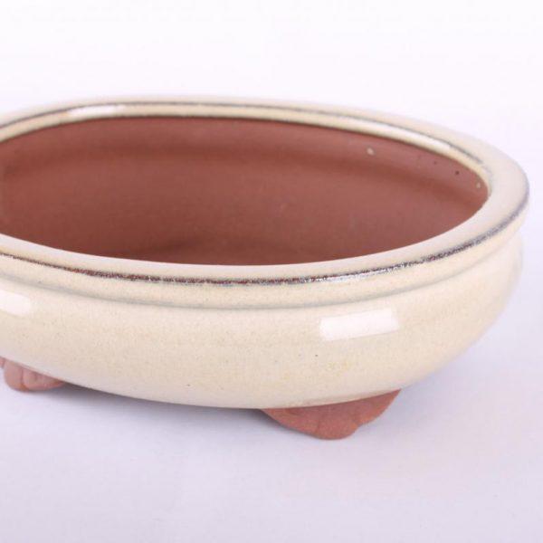 Bonsajová miska oválna, 16.5x13x5.5cm, krémová, glazúrovaná
