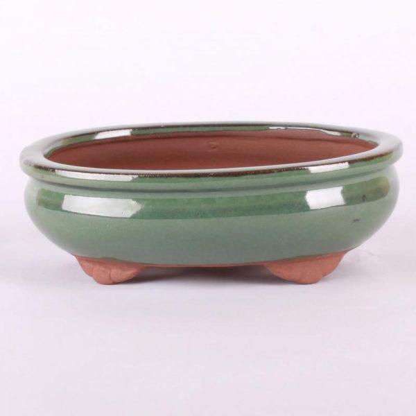 Bonsajová miska oválna, 16.5x13x5.5cm, zelená, glazúrovaná
