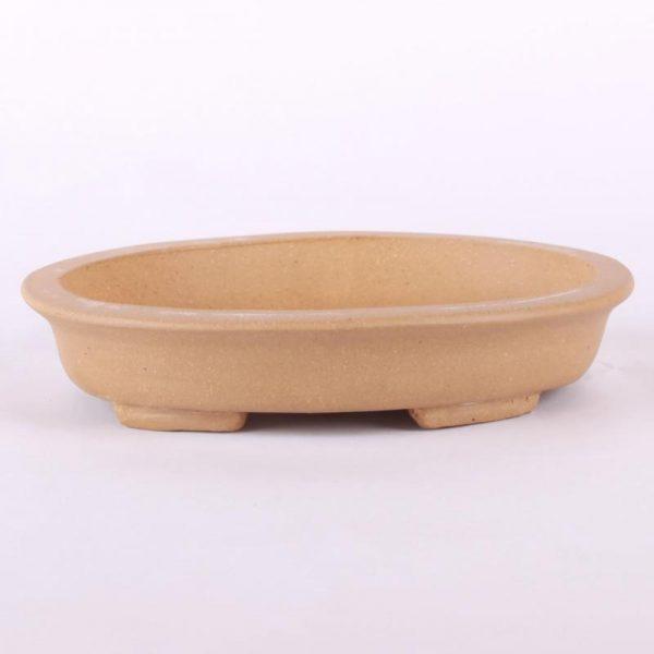 Bonsajová miska oválna bledohnedá neglazovaná 15.5×13.8×3.5cm