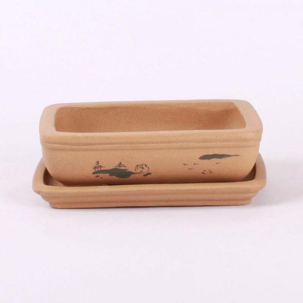 Bonsajová miska hranatá s podmiskou, 18x14.5x5cm bledohnedá, neglazúrovaná so zaoblenými rohmi