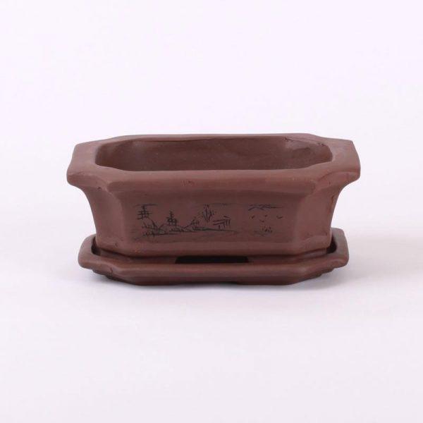 Bonsajová miska hranatá s podmiskou, 17x12.5x6cm tmavohnedá, neglazúrovaná