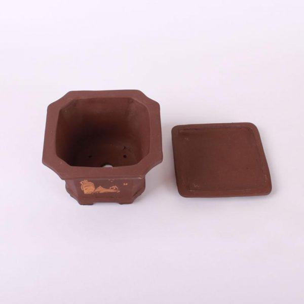 Bonsajová miska štvorcová s podmiskou, 14.5x16.5cm tmavohnedá, neglazúrovaná