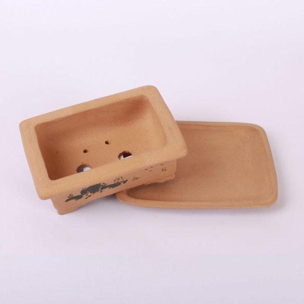 Bonsajová miska hranatá s podmiskou, 17x12x6cm bledohnedá, neglazúrovaná