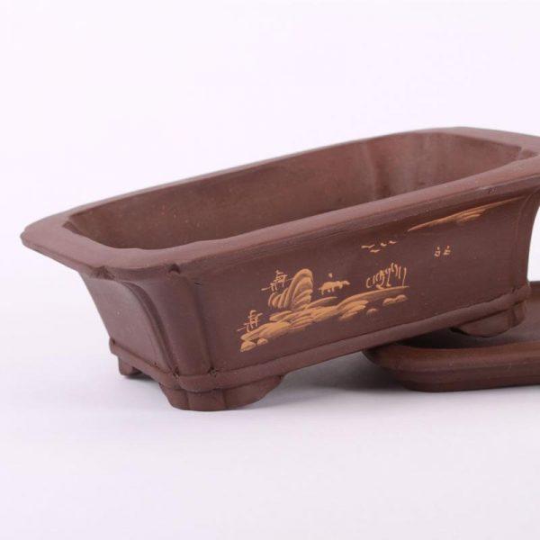 Bonsajová miska hranatá s podmiskou, 20x15.5x6cm tmavohnedá, neglazúrovaná