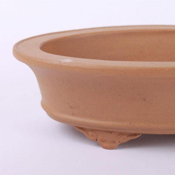 Bonsajová miska oválna bledohnedá neglazovaná 25.5x17x7cm