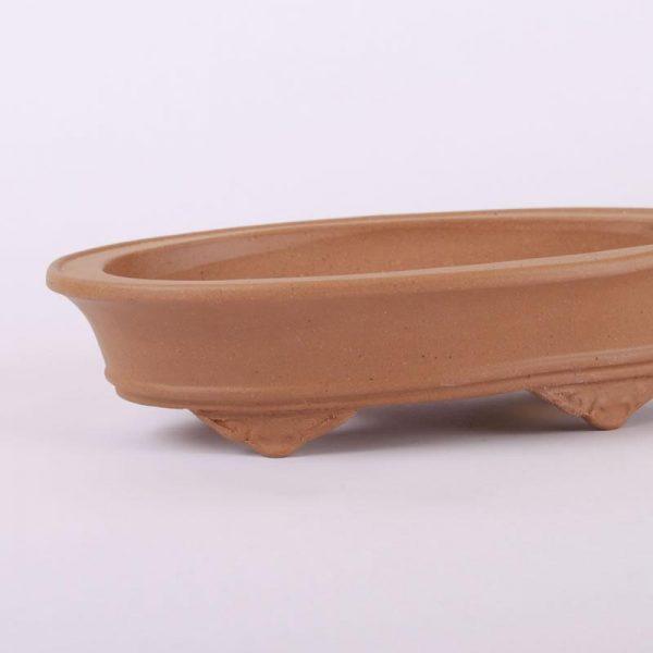 Bonsajová miska oválna bledohnedá neglazovaná 19.5x12.5x5cm